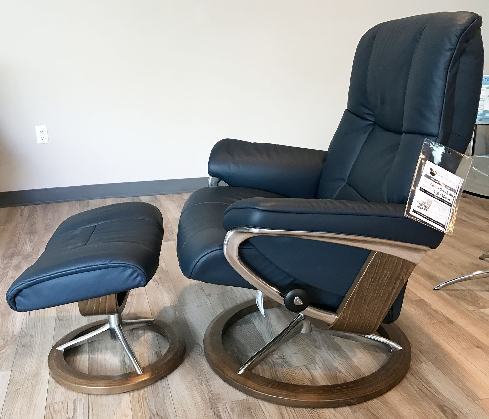 Navy Blue Leather Chair And Ottoman