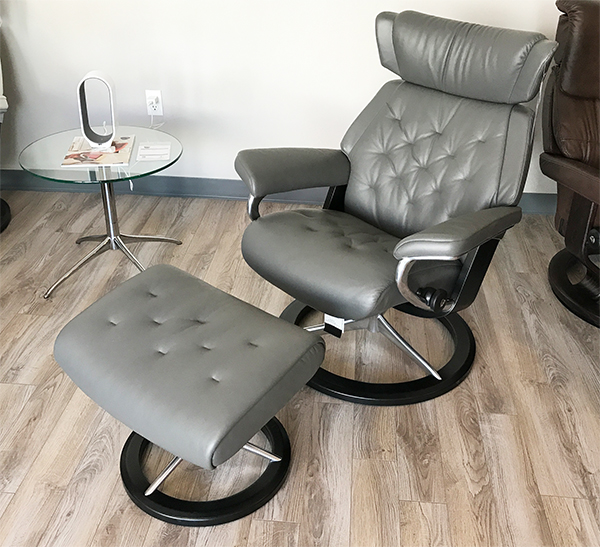 Stressless Skyline Recliner Chair and Ottoman in Paloma Metal Grey Leather