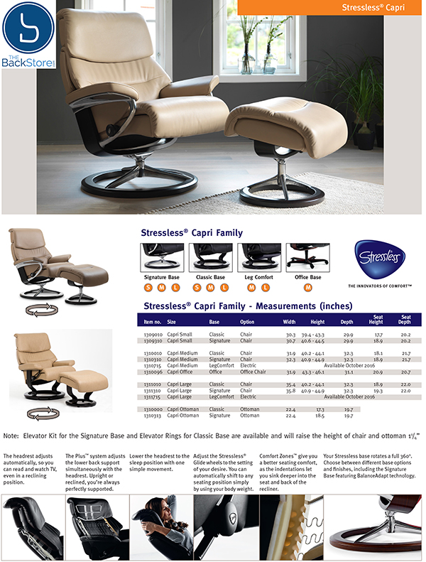 Stressless Capri Recliner Chair and Ottoman by Ekornes