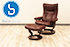Stressless Eagle Large Wing Recliner Chair and  Ottoman - Cori Amarone Leather