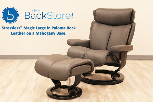 Stressless Large Magic Recliner Chair and Ottoman in Paloma Rock