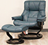 Stressless Mayfair Recliner Chair and Ottoman in Cori Petrol Leather
