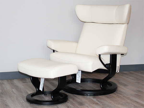 Stressless Viva Recliner Chair and Ottoman in Paloma Vanilla Leather by Ekornes