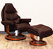 Stressless Voyager Medium Recliner and Ottoman in Royalin Amarone Leather