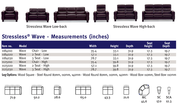 Stressless Wave Chair, Loveseat and Sofa Product Dimensions Measurements