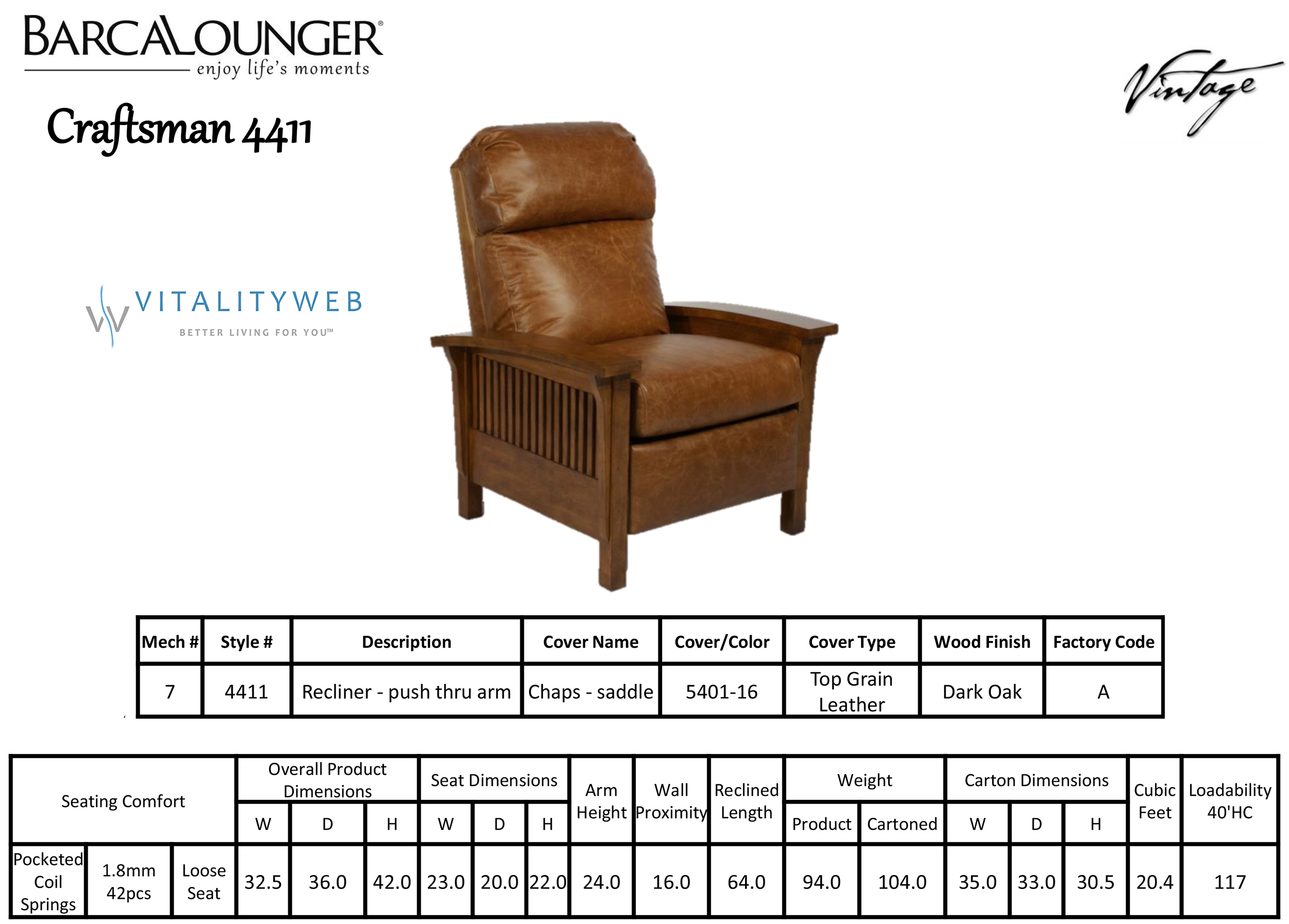 Barcalounger Craftsman II Recliner Chair Leather Recliner Chair