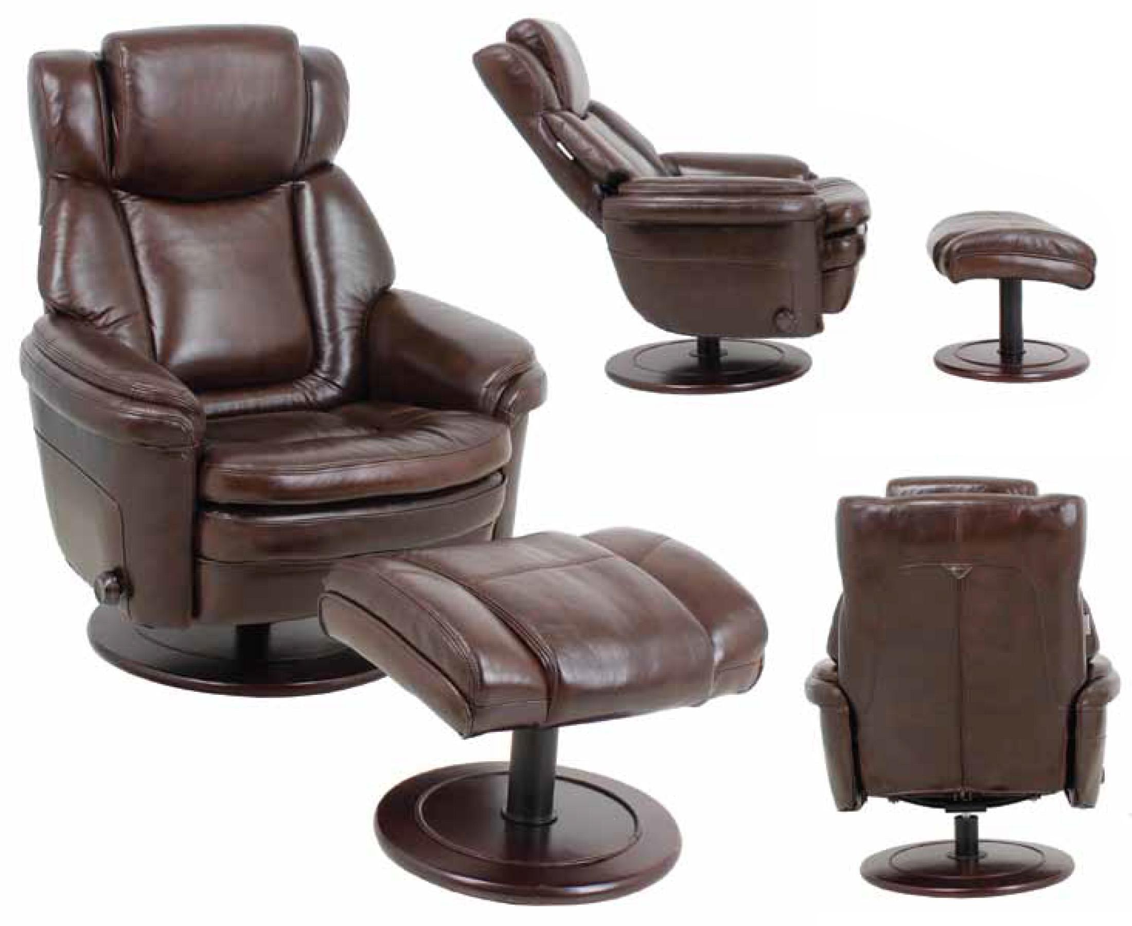 leather eclipse ii recliner chair and ottoman