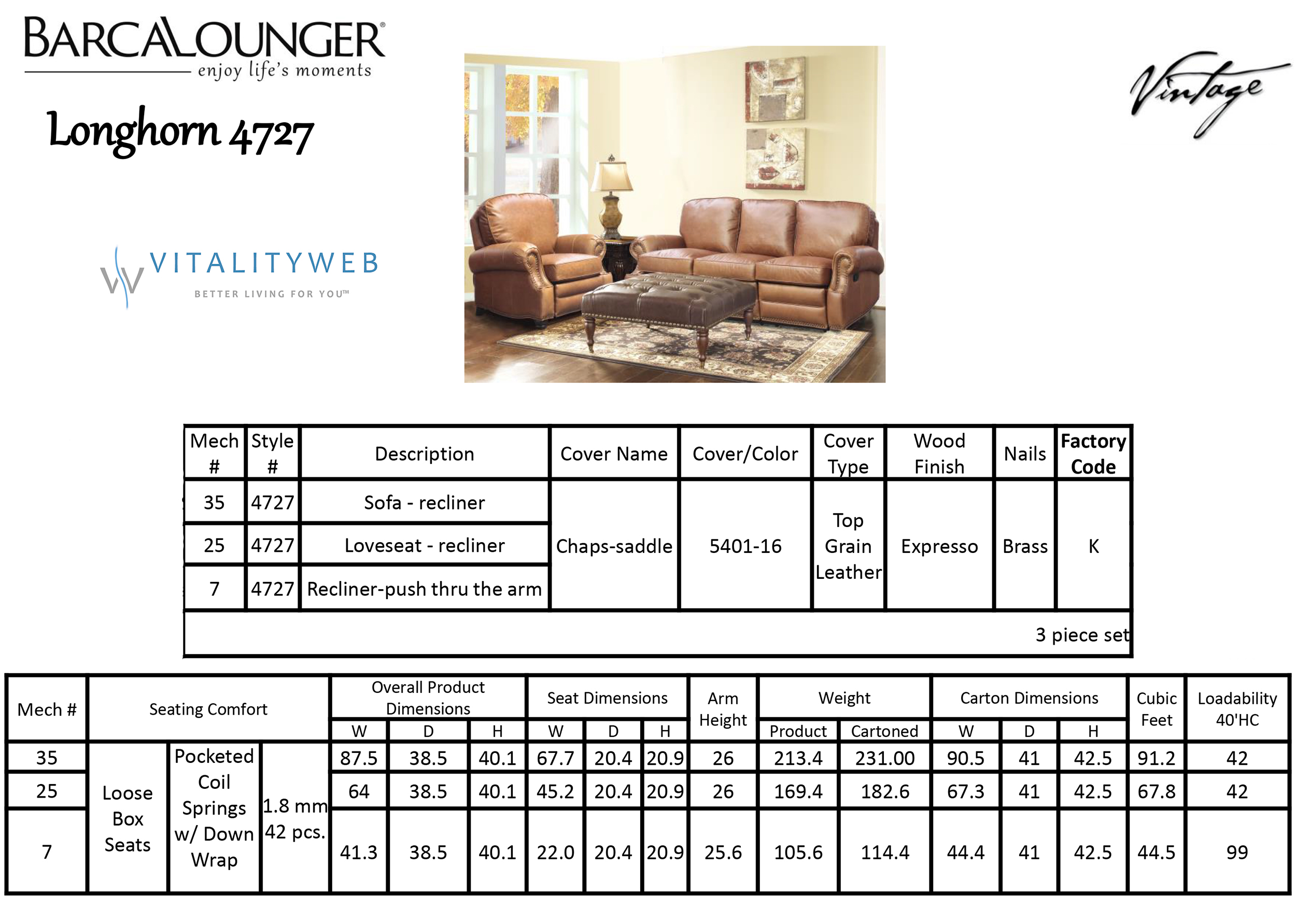 Barcalounger Longhorn II 4727 Leather Recliner Chair and Sofa Dimensions  sc 1 st  Vitalityweb.com & Barcalounger Longhorn II Leather Recliner Chair - Leather Recliner ... islam-shia.org