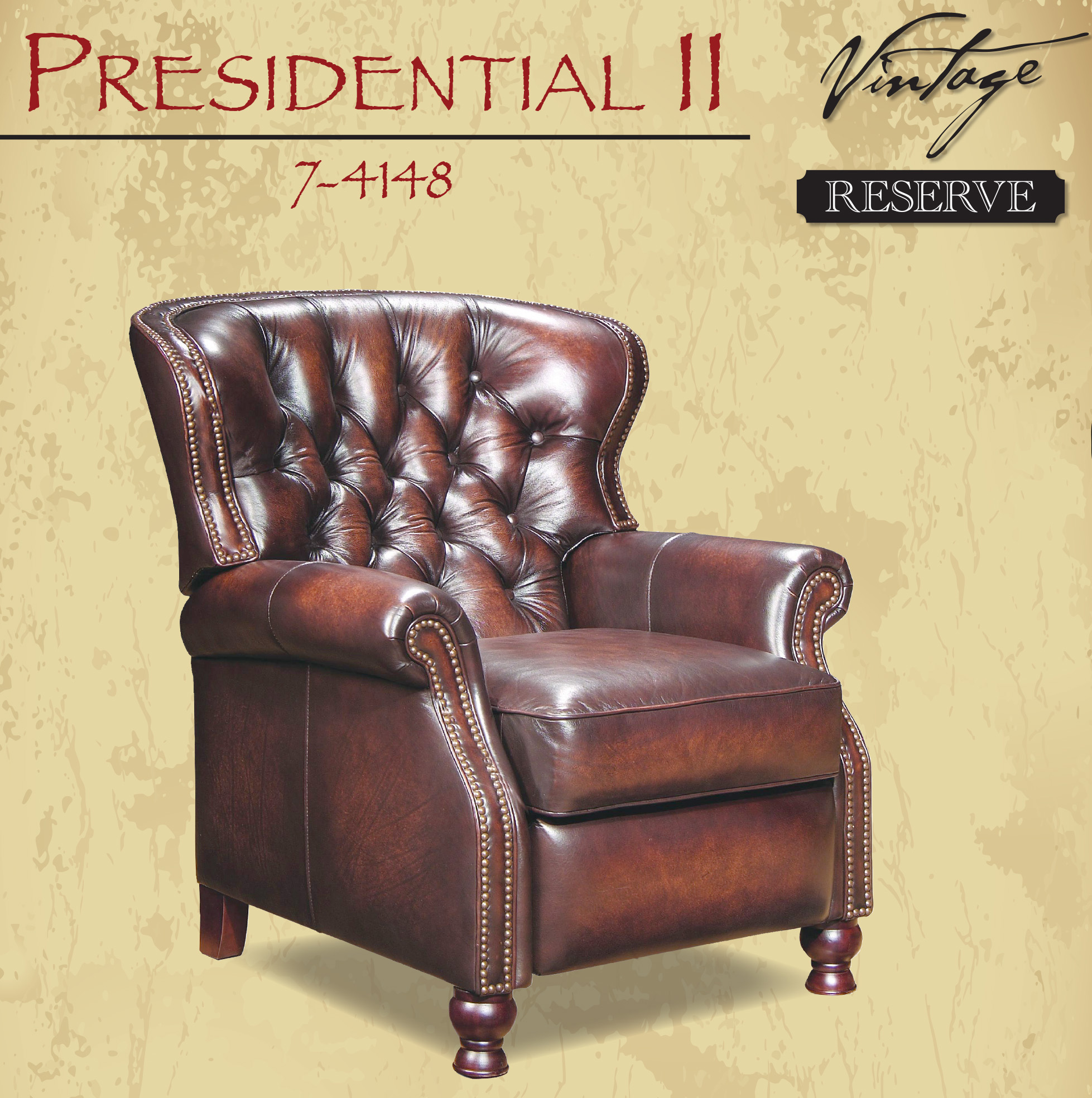 Barcalounger Presidential II Recliner Stetson Coffee Leather Chair