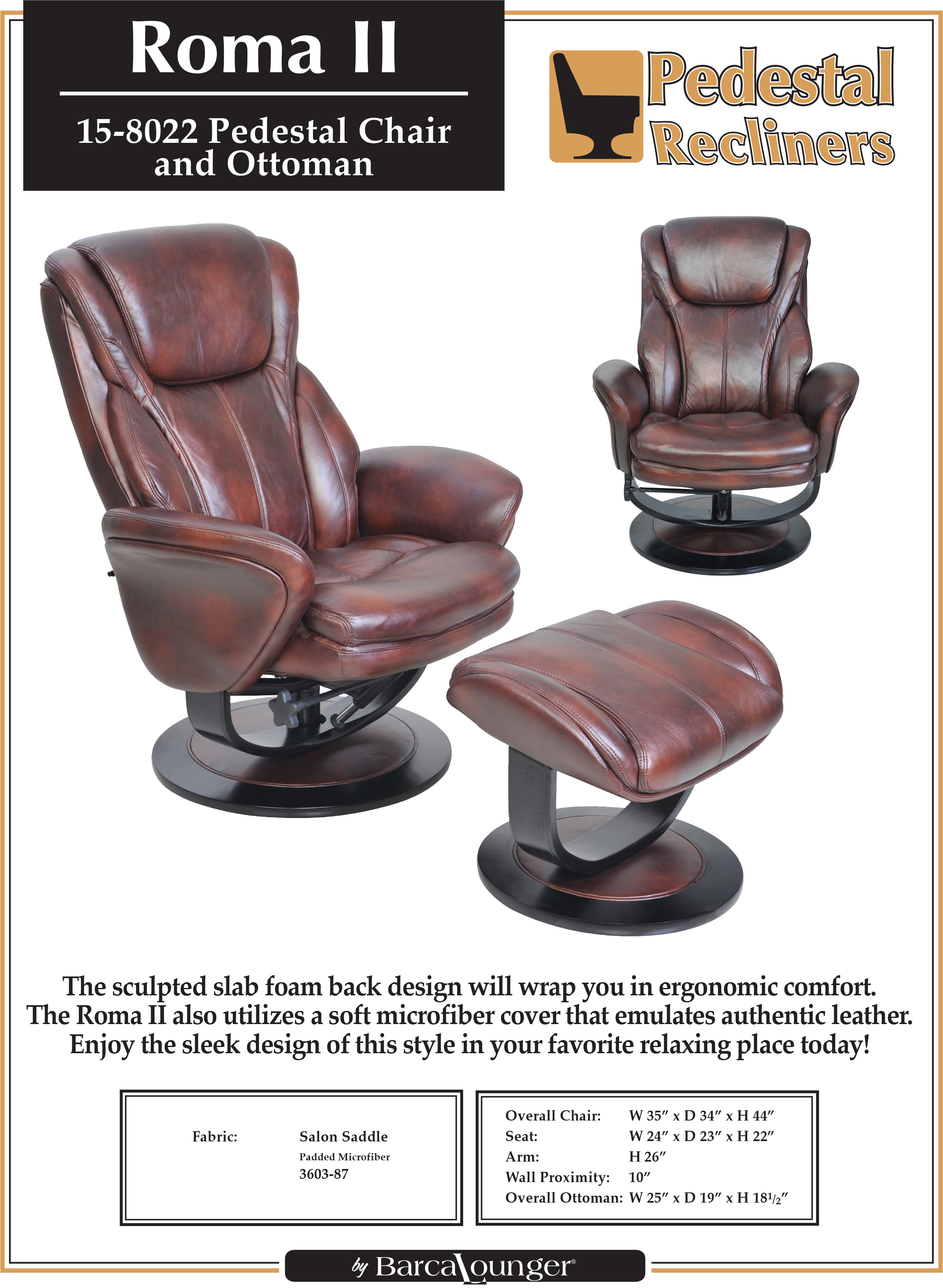 Barcalounger Roma II Recliner Chair and Ottoman Leather Recliner