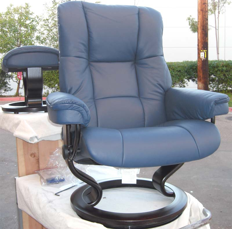 Stressless Kensington Recliner Oxford Blue Leather Chair And Ottoman By  Ekornes