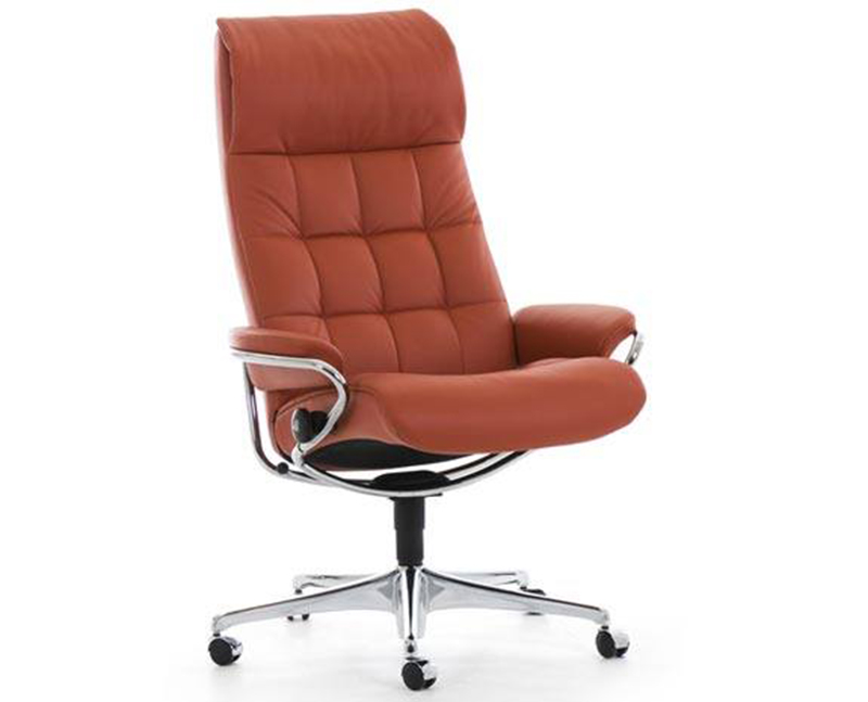 Ekornes Stressless London High Back Leather Recliner and Ottoman