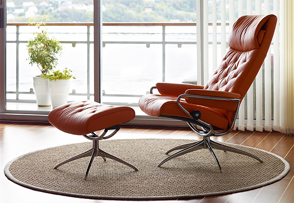 Stressless Metro High Back Red Paloma Leather Recliner Chair And Ottoman By  Ekornes