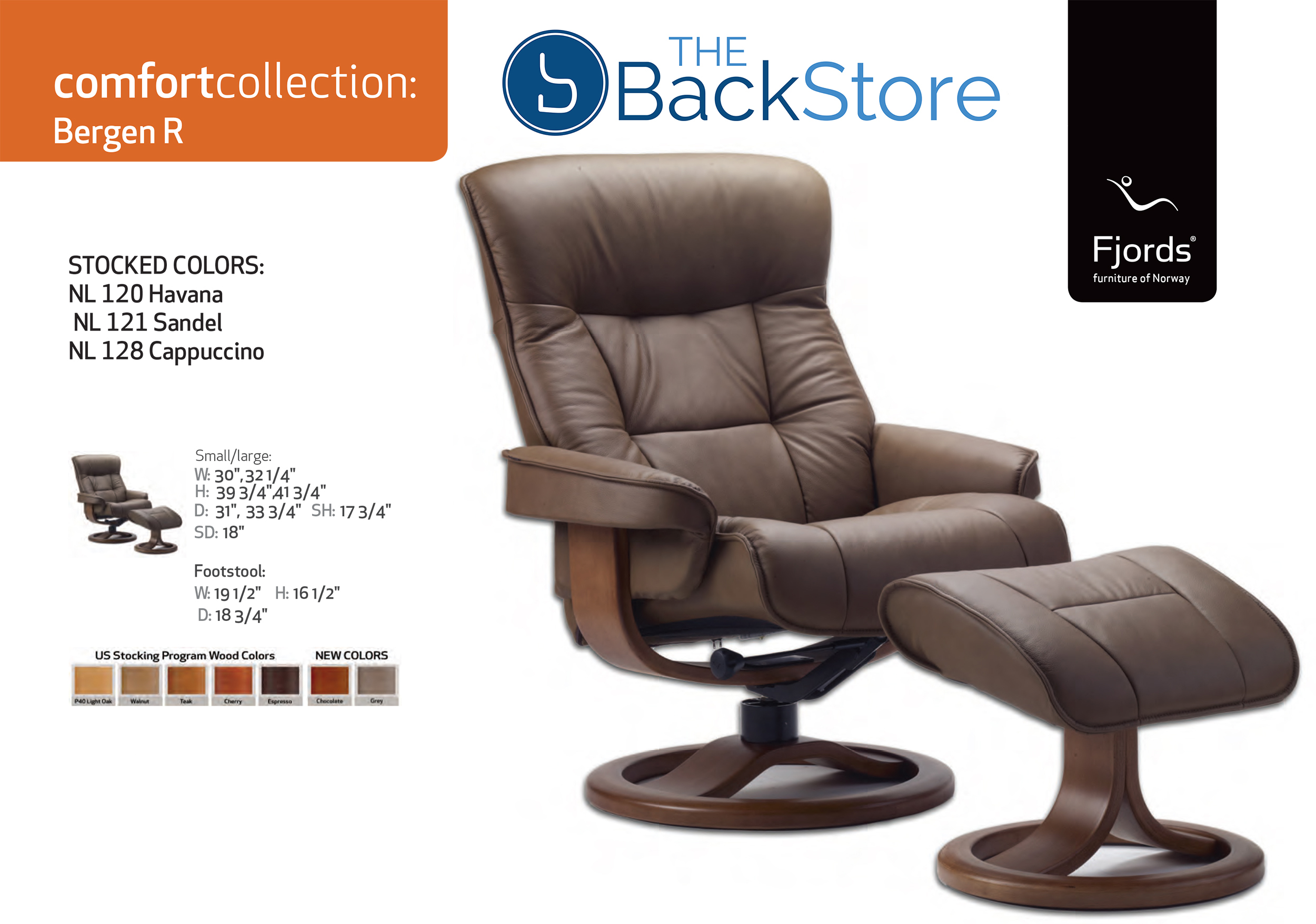 Fjords Bergen Leather Recliner Chair And Ottoman