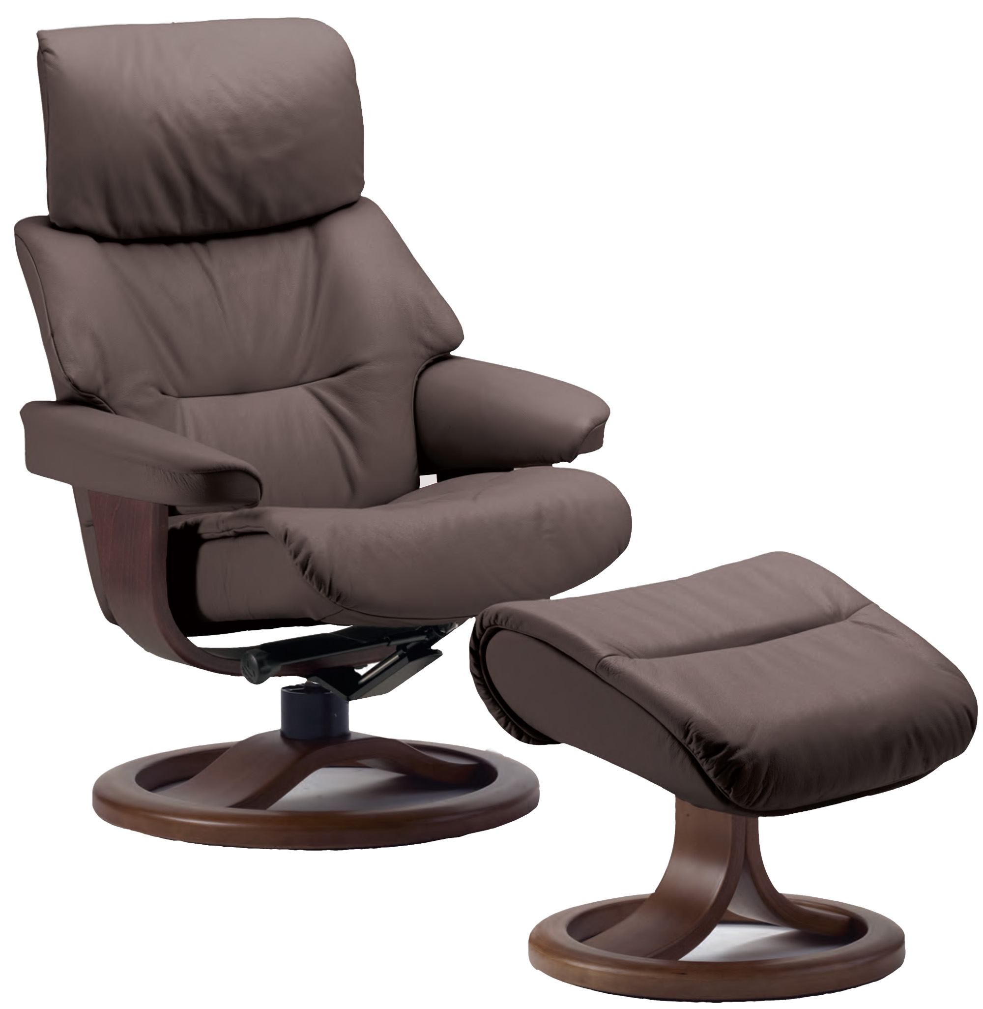 Fjords Grip Ergonomic Leather Recliner Chair Ottoman – Reclining Chairs with Ottomans