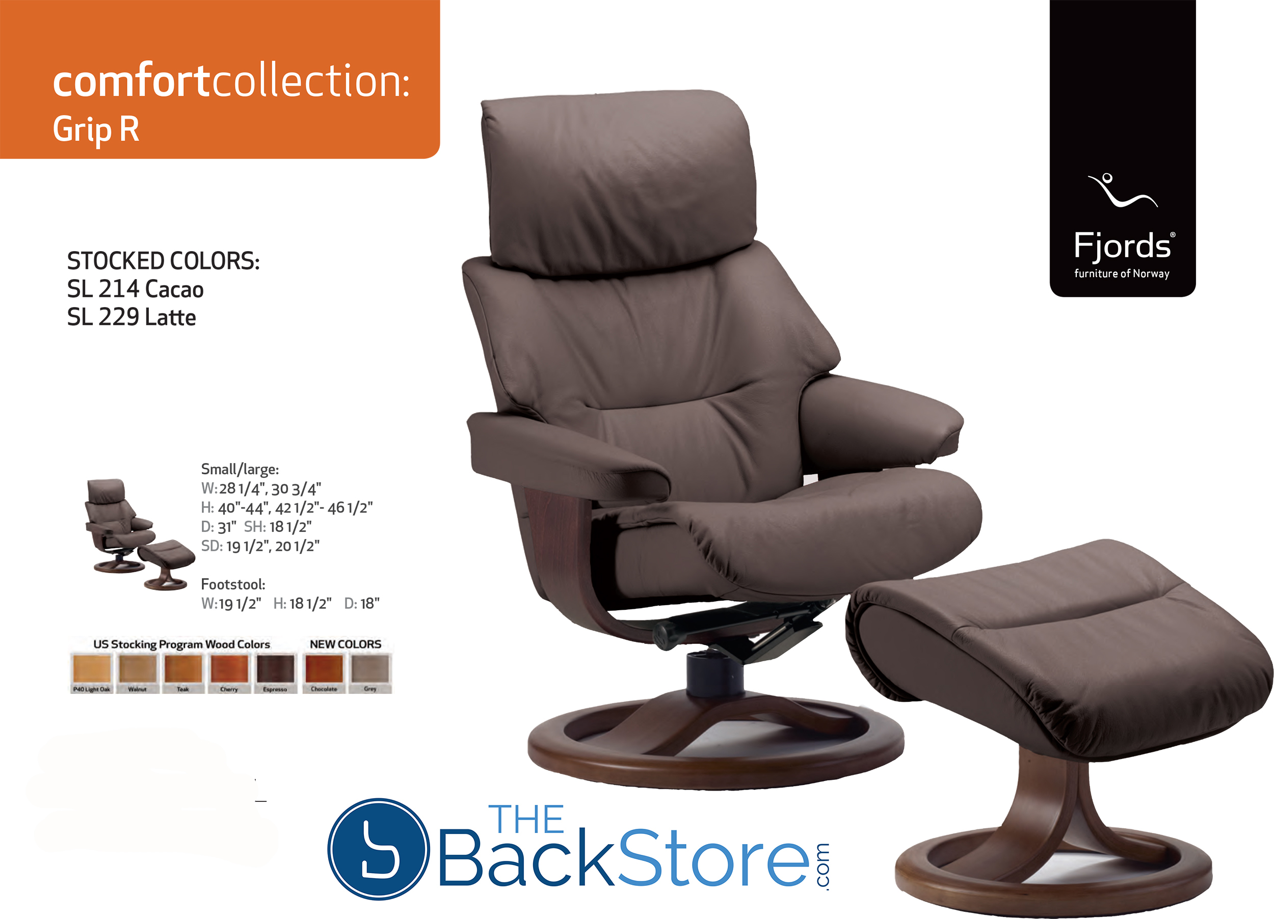 Fjords Grip Leather Recliner Chair And Ottoman