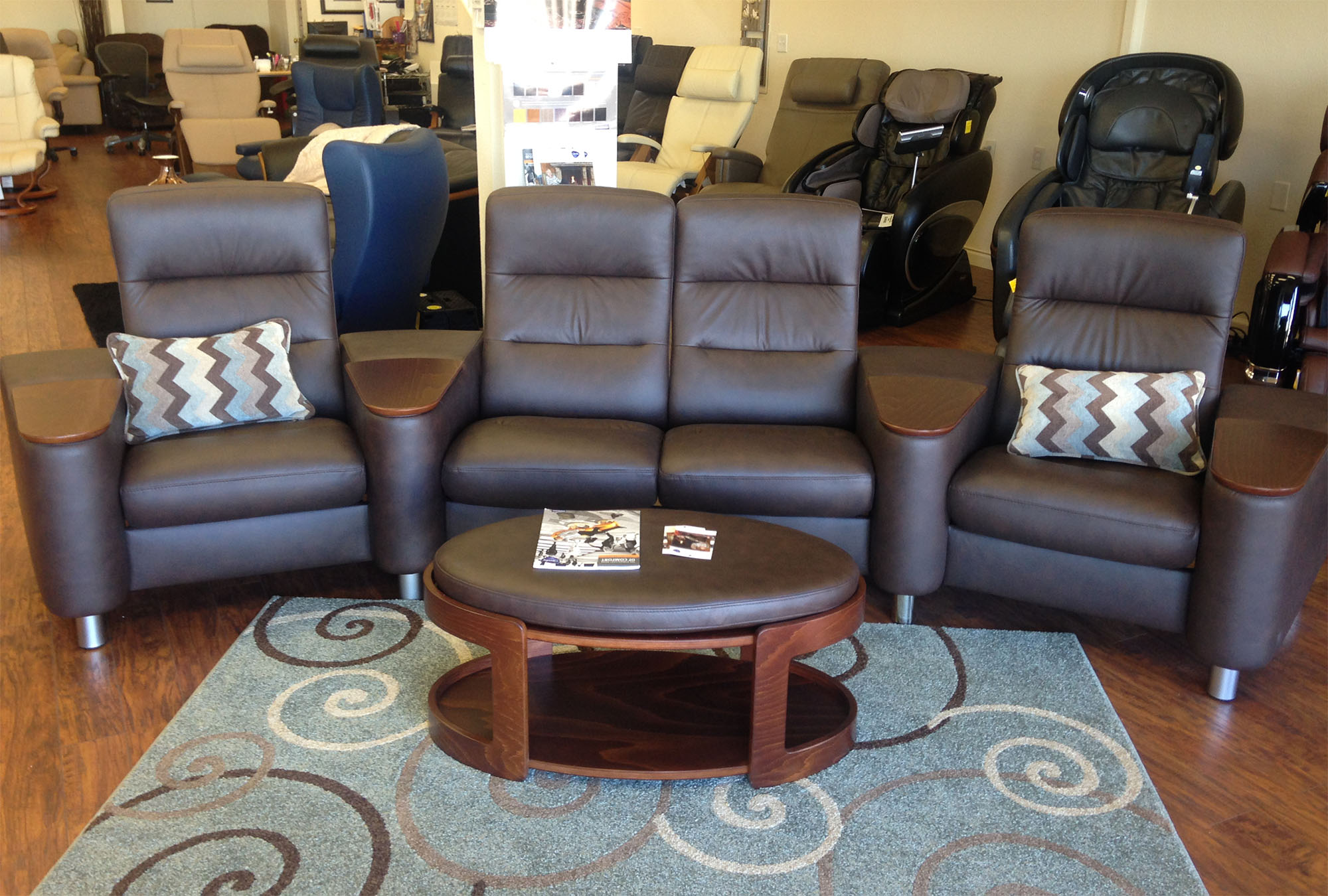Stressless Wave Sofa Home Theater Paloma Chocolate Leather