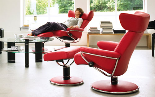 Stressless Jazz Red Leather Recliner Chair By Ekornes