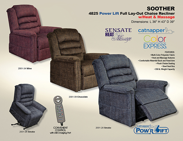 Catnapper Soother 4825 Power Lift Chair Recliner With Heat