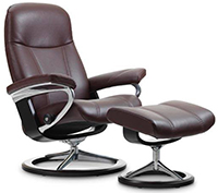 Stressless Consul Signature Steel and Wood Base Recliner Chair and Ottoman