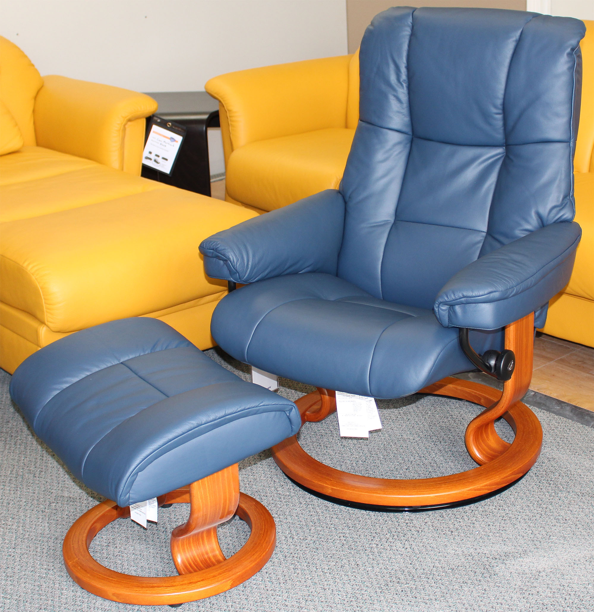 Stressless Mayfair Paloma Oxford Blue Leather Recliner