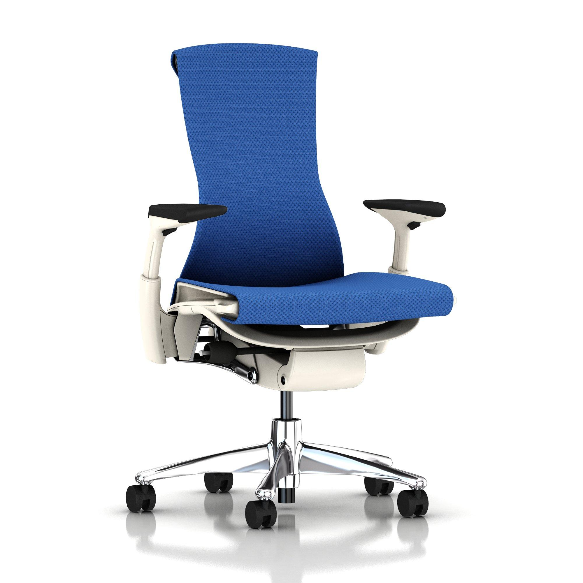 ... Embody Chair Berry Blue Balance Aluminum With White Frame