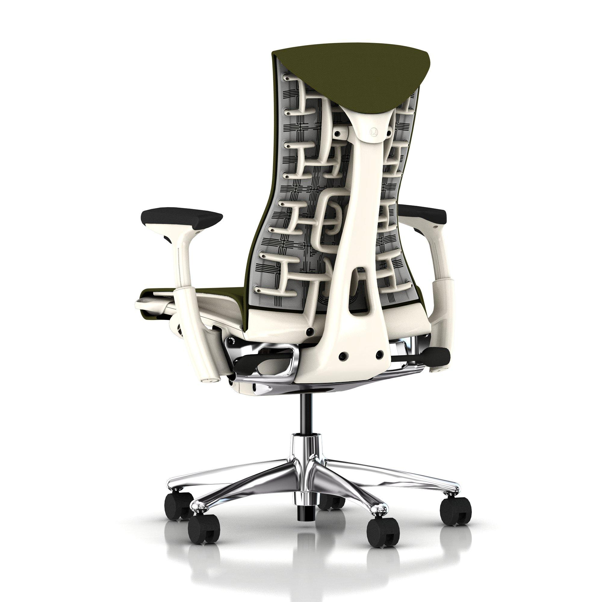 herman miller embody chair green apple rhythm with white frame and