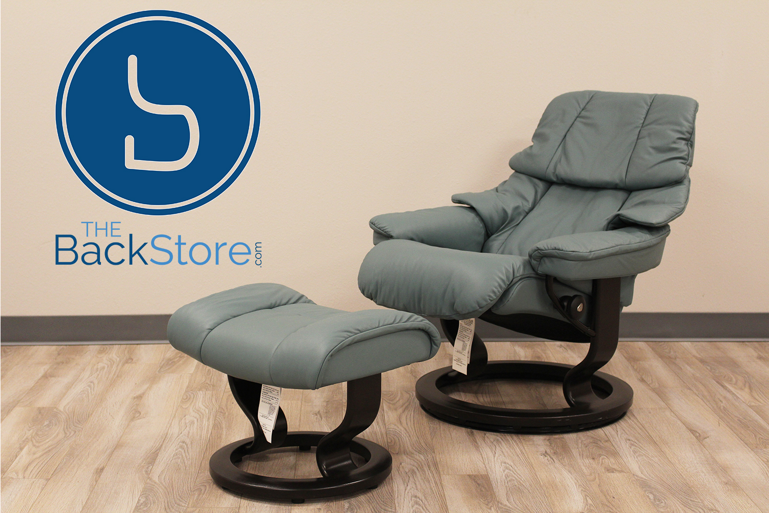 Small Reno Stressless T&a Paloma AquaGreen Leather Recliner Chair by Ekornes : recliner small - islam-shia.org