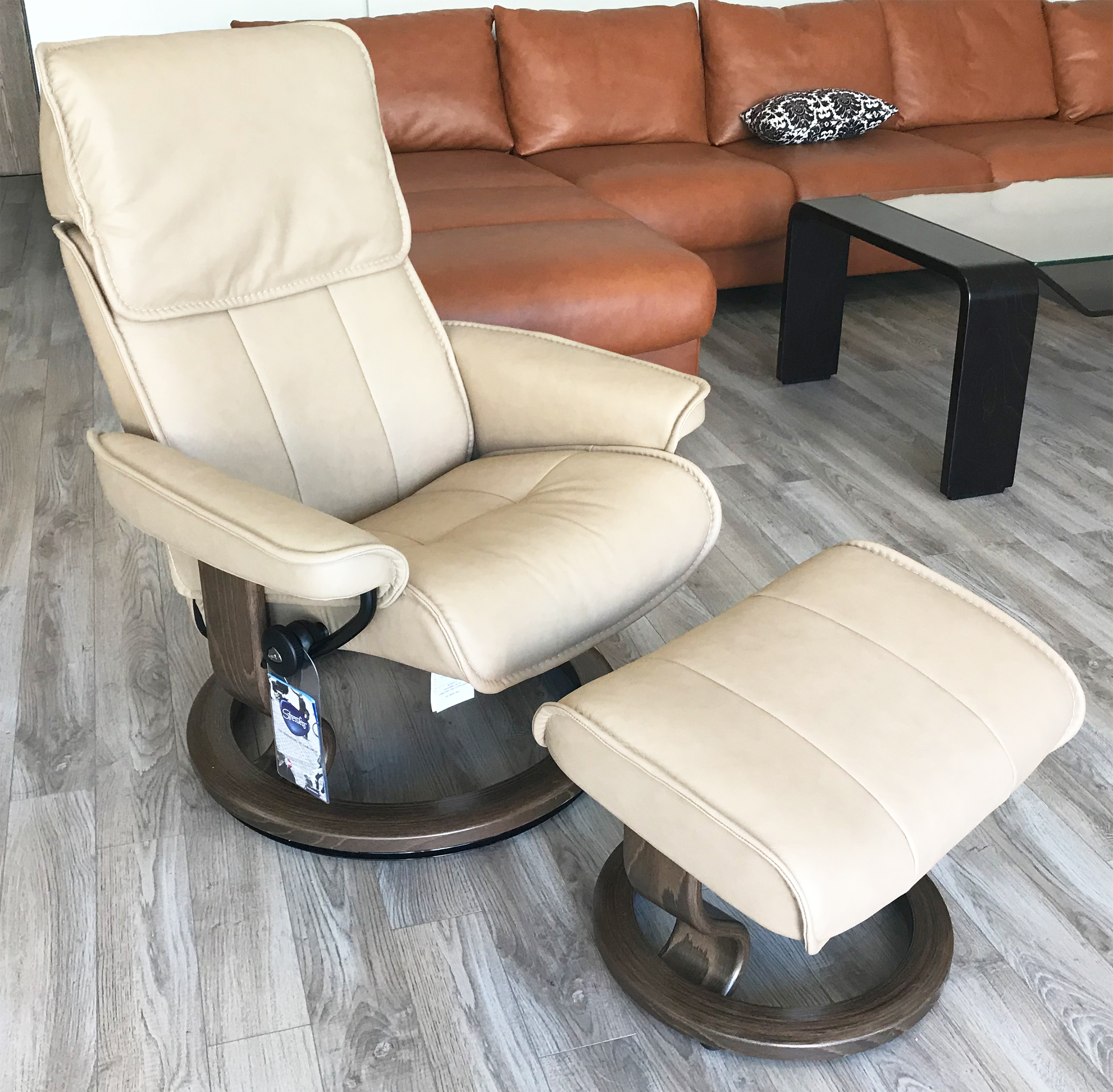 Stressless Admiral Paloma Sand Leather Recliner Chair And