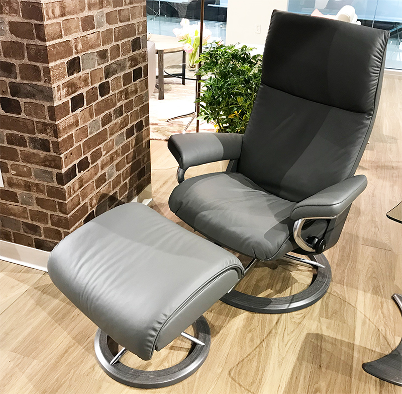 Stressless Aura Signature Batick Grey Leather Recliner
