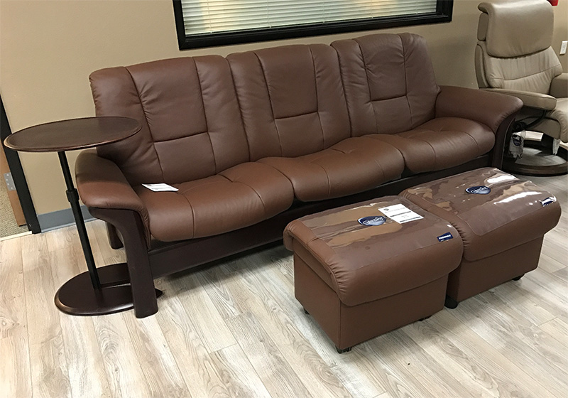 Stressless Buckingham 3 Seat Low Back Sofa Paloma Brown Leather By Ekornes
