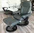 Stressless Consul Medium Recliner and Ottoman - Batick Black Leather Recliner Chair and Ottoman by Ekornes