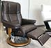 Stressless Mayfair Paloma Taupe Leather Recliner Chair and Ottoman