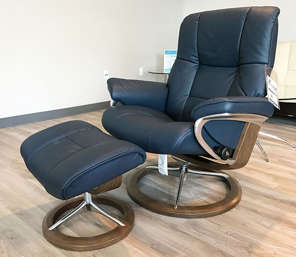 Stressless Mayfair Signature Base Recliner Chair in Paloma Oxford Blue Leather