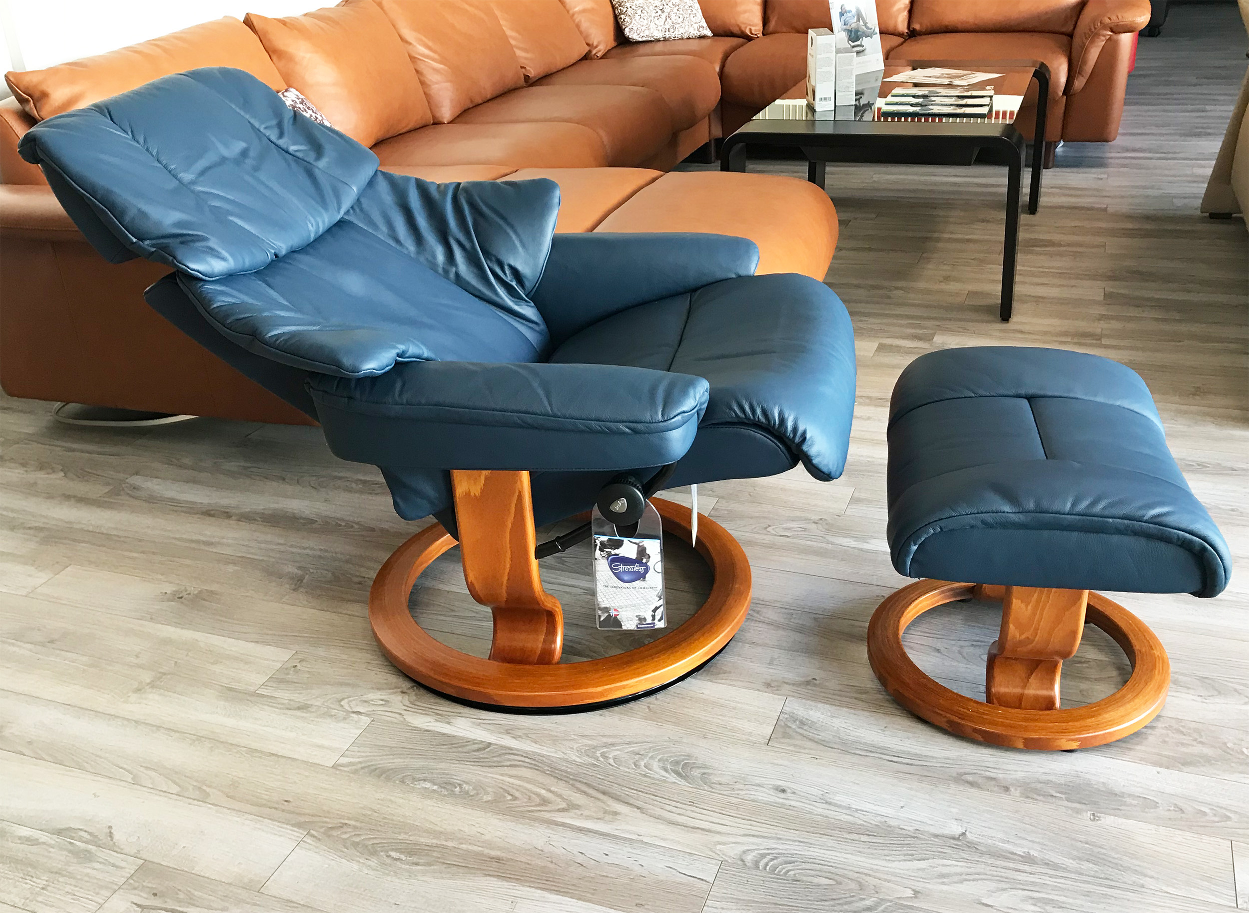 Stressless Reno Paloma Oxford Blue Leather Recliner Chair