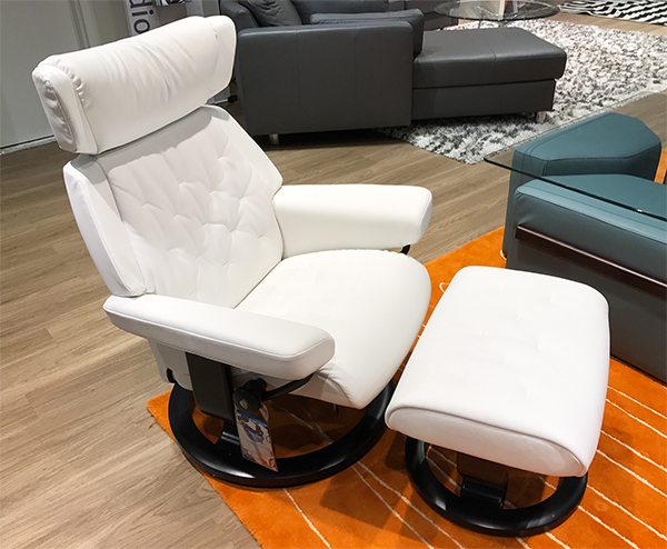 Stressless Skyline Recliner Chair and Ottoman in Batick Snow Leather