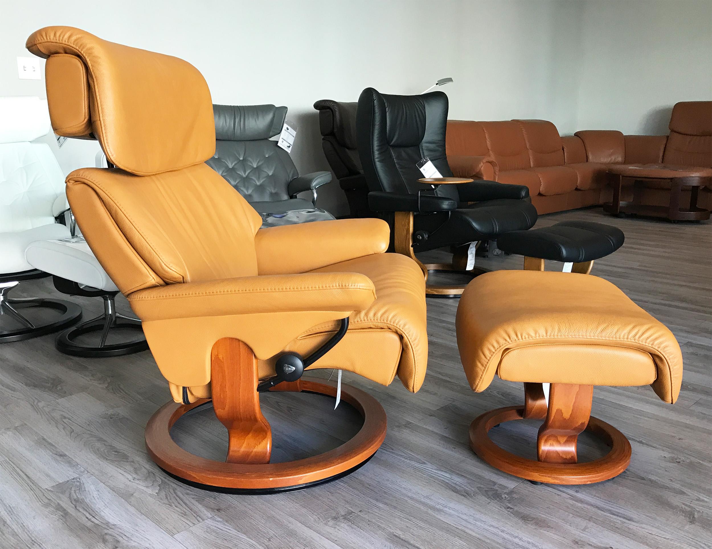 Stressless Spirit Dream Cori Tan Leather Recliner Chair and