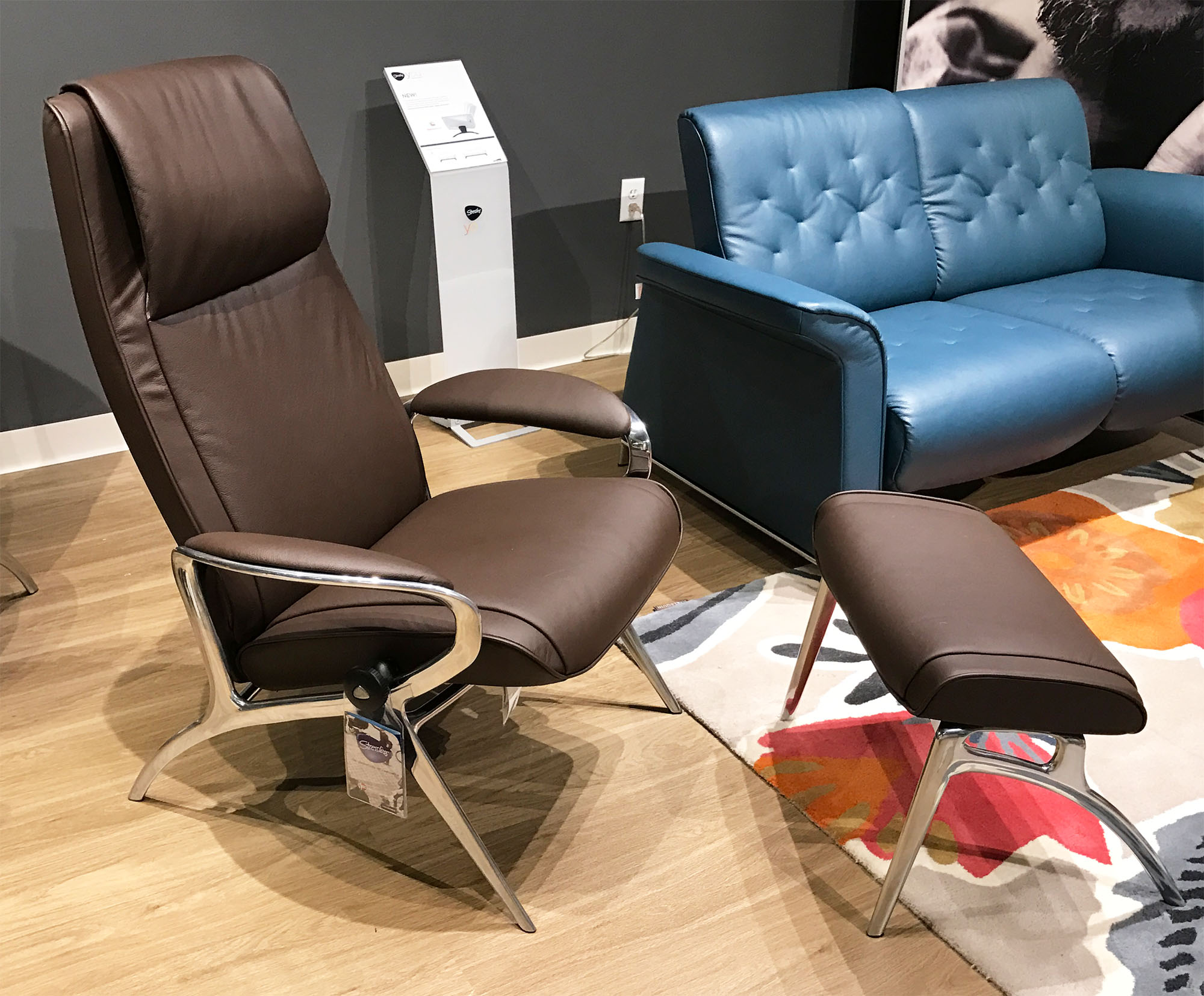 Stressless YOU James Aluminum Recliner Chair In Batick Brown Leather  Recliner Chair By Ekornes