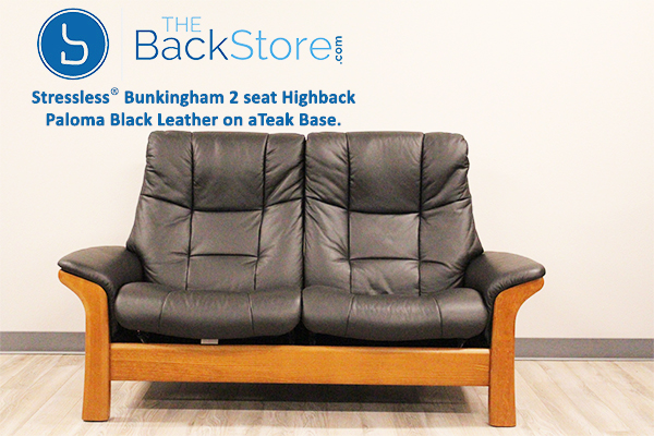 Stressless Buckingham High Back Loveseat in Paloma Black Leather