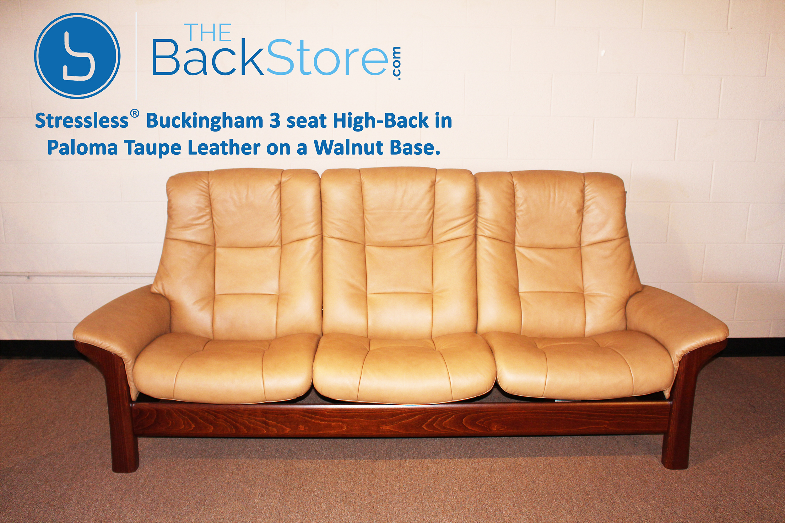 Stressless Buckingham 3 Seat High Back Sofa Paloma Taupe Color Leather Recliner Sofa : high back leather recliner chair - islam-shia.org