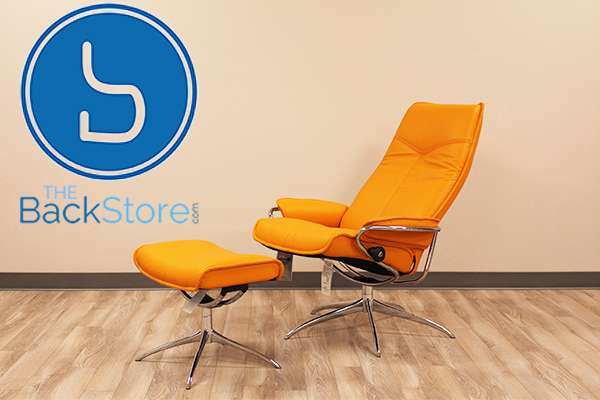 Stressless City High Back Paloma Clementine  Leather Recliner Chair and Ottoman by Ekornes