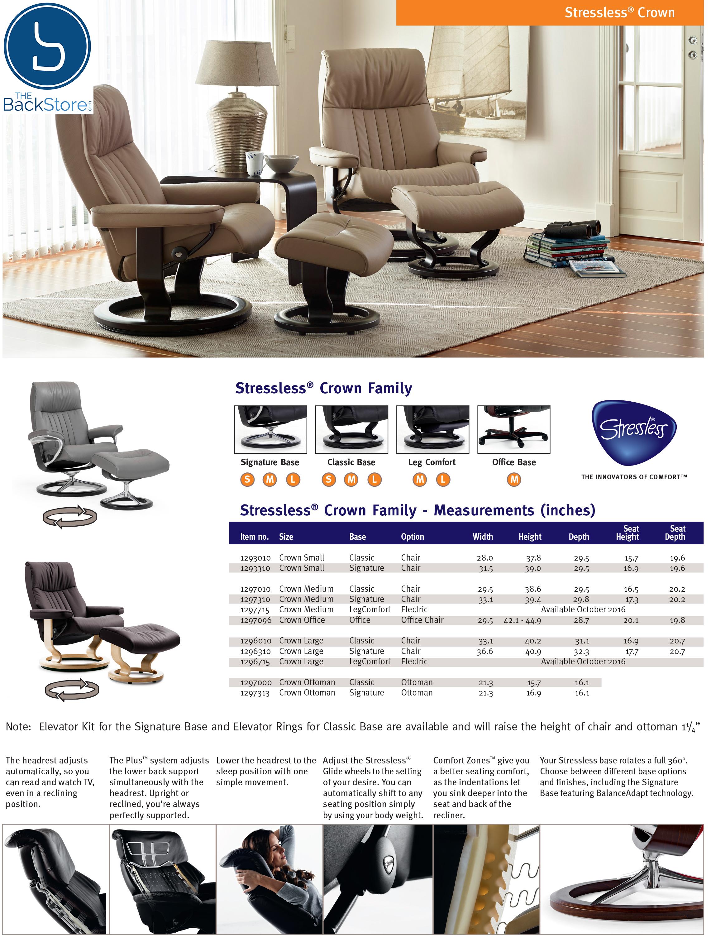 Ekornes Stressless Crown Recliner Chair Lounger and Ottoman
