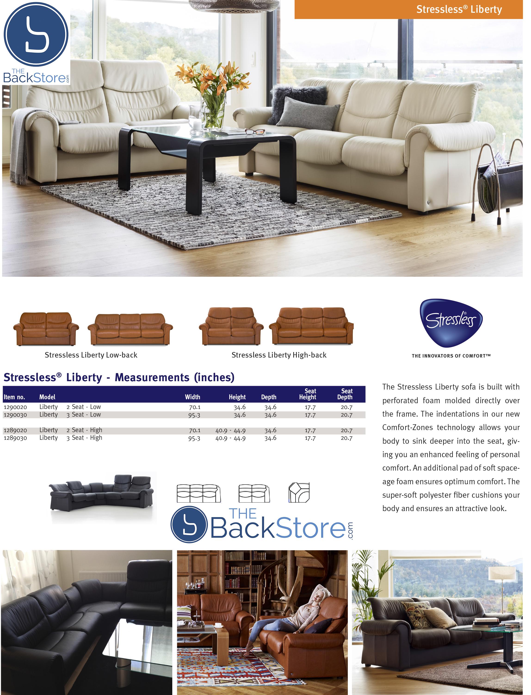 Stressless Liberty Leather Sofa Loveseat Measurements Dimensions