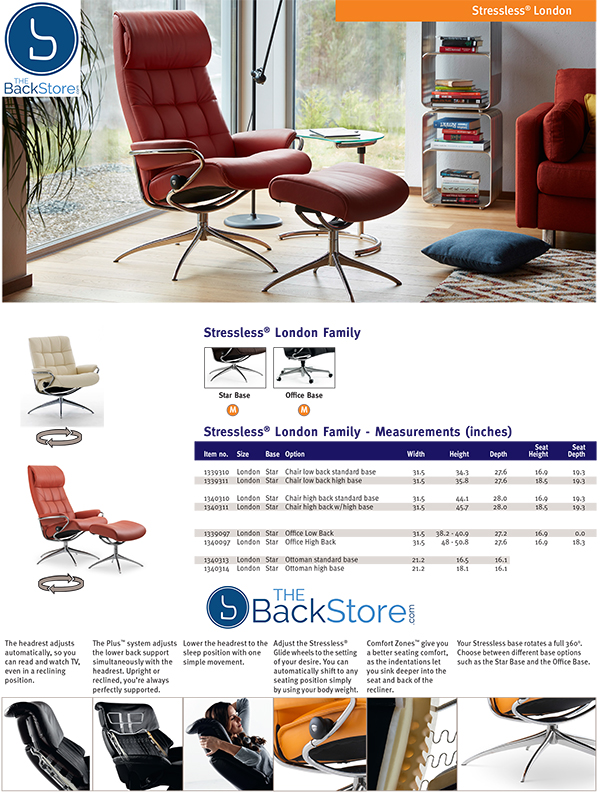 Stressless London Recliner Chair and Ottoman Measurements by Ekornes
