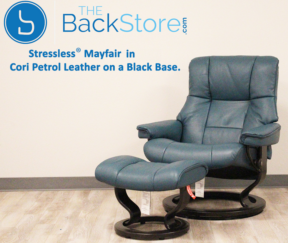 Stressless Mayfair Cori Petrol Leather Recliner Chair And Ottoman By Ekornes