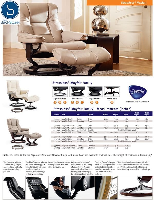 Stressless Mayfair Leather Recliner Chair and Ottoman by Ekornes