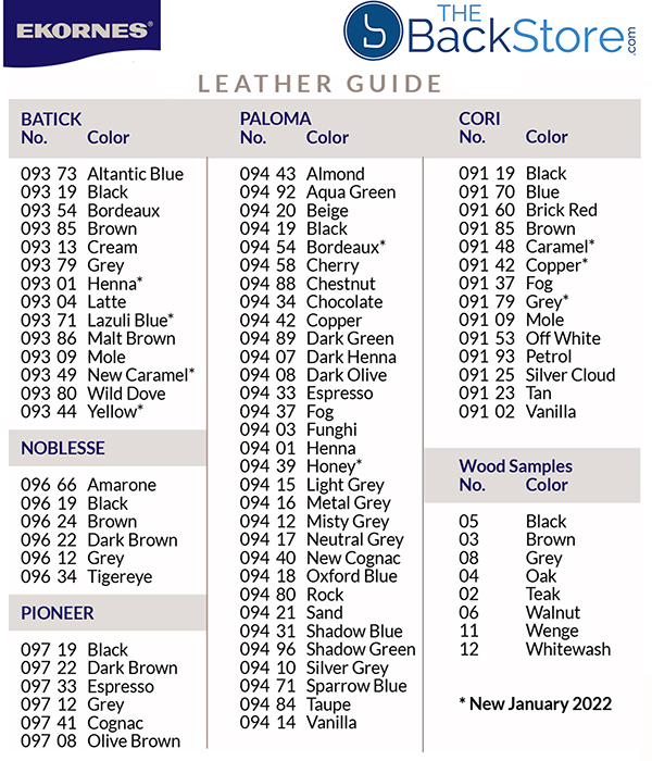 Current Stressless Leather Grade and Color Guide