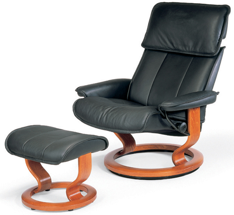 Stressless Admiral Classic Base Paloma Black Leather Recliner Chair and Ottoman by Ekornes