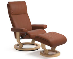 Stressless Aura Classic Recliner Chair and Ottoman
