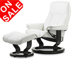 Stressless Governor and Senator Classic Recliner Chair and Ottoman